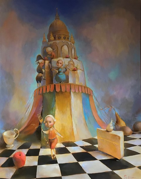 Living room painting by Olga Pelipas titled Welcome to Our Fairytale