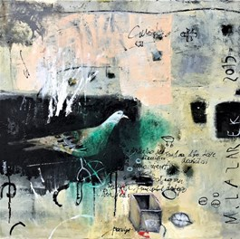 Living room painting by Małgorzata Lazarek titled Dove