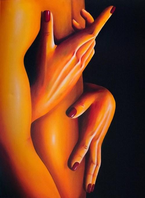 Obraz do salonu artysty Eliza Mytko pod tytułem Kochać to łagodnie przyprowadzać kogoś do siebie samego
