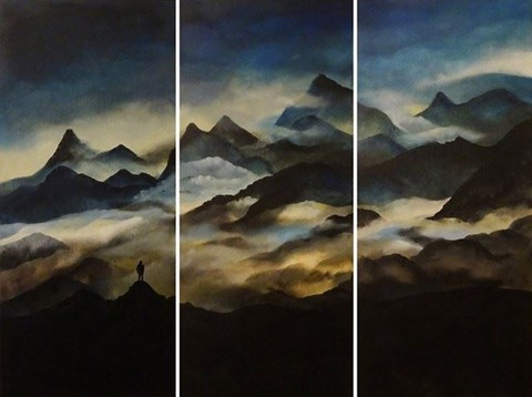 Living room painting by Klaudia Krupa titled Himalaya Triptych