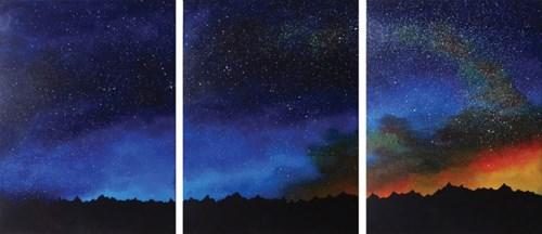Obraz do salonu artysty Klaudia Krupa pod tytułem Gwiezdny pył (tryptyk)