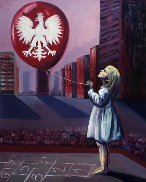 Living room painting by Kacper Piskorowski titled Childish Game