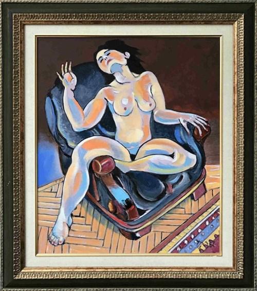 Obraz do salonu artysty Czesław Tumielewicz pod tytułem Akt w fotelu