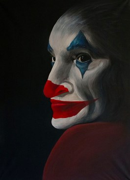 Living room painting by Monika Nowacka titled Joker