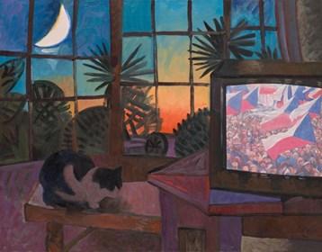 Living room painting by Wojciech Fangor titled Six p.m.