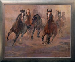 Living room painting by Stanisław  Chomiczewski titled Galloping Horses