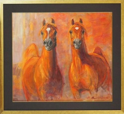 Obraz do salonu artysty Stanisław Chomiczewski pod tytułem Dwa konie
