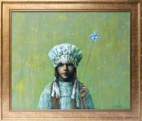 Obraz do salonu artysty Halina Tymusz pod tytułem Dziewczynka z wiatraczkiem