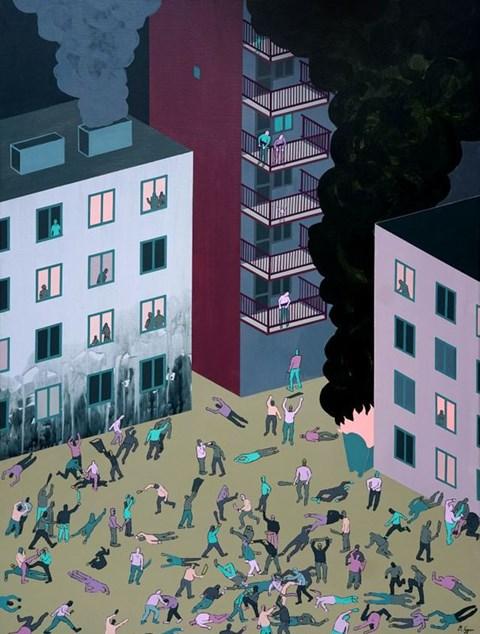 Obraz do salonu artysty Michał Cygan pod tytułem Życie ostre jak maczeta