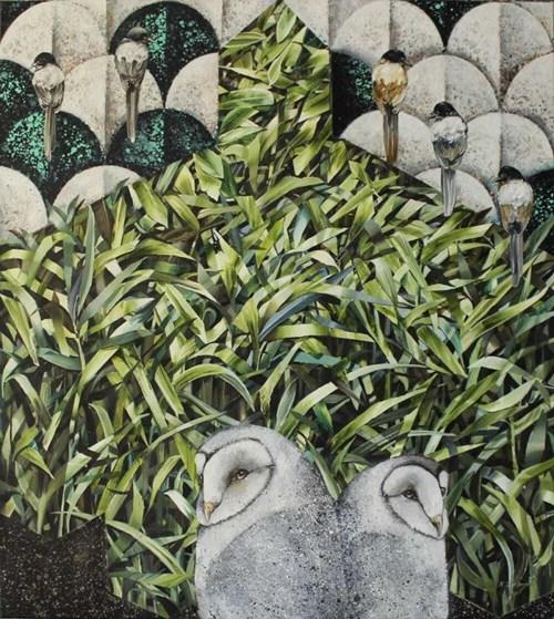 Obraz do salonu artysty Katarzyna Stelmach pod tytułem Płomykówki