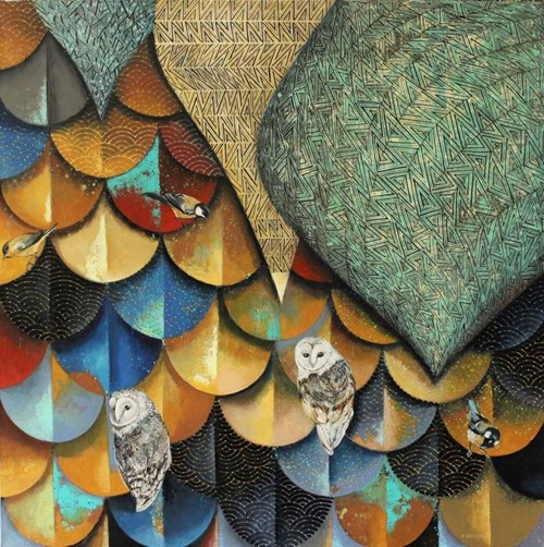 Obraz do salonu artysty Katarzyna Stelmach pod tytułem Kompozycja z sowami
