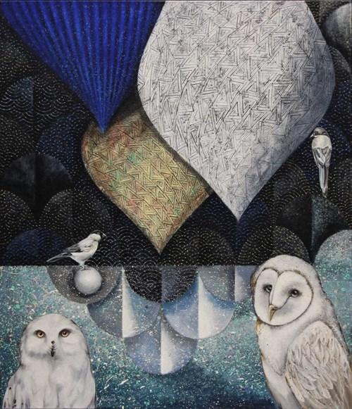 Obraz do salonu artysty Katarzyna Stelmach pod tytułem Kompozycja ze śnieżną sową