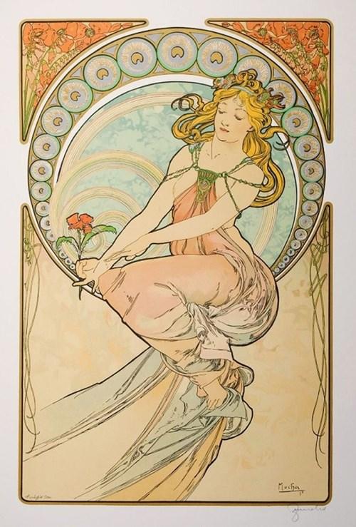Obraz do salonu artysty Alfons Mucha pod tytułem Les Arts La Peinture