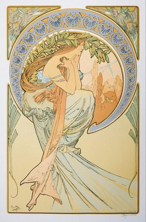Obraz do salonu artysty Alfons Mucha pod tytułem Les Arts La Poesie