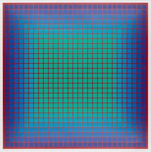 Obraz do salonu artysty Julian Stańczak pod tytułem Conferring Blue
