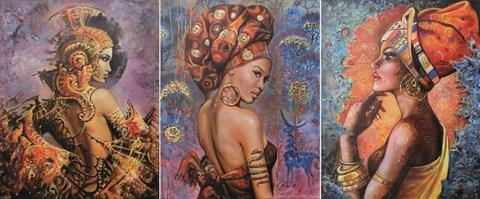 Obraz do salonu artysty Natali Masaliti pod tytułem My secret garden (tryptyk)