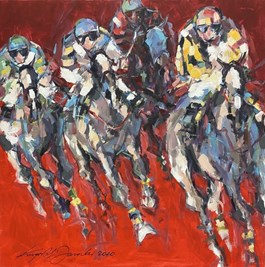 Living room painting by Krzysztof  Jarocki titled Derby