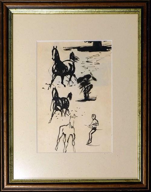 Obraz do salonu artysty Ludwik Maciąg pod tytułem Trzy konie