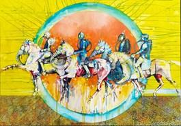 Living room painting by Wojciech Łuka titled Four Horsemen