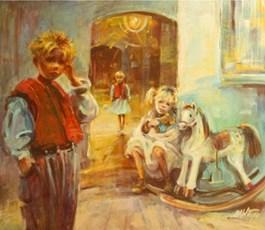 Living room painting by Beata Anna Topolińska titled Courtyard