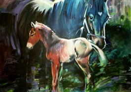Living room painting by Jolanta Kalopsidiotis titled Mare and Colt