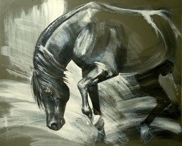 Living room painting by Jolanta Kalopsidiotis titled Stallion