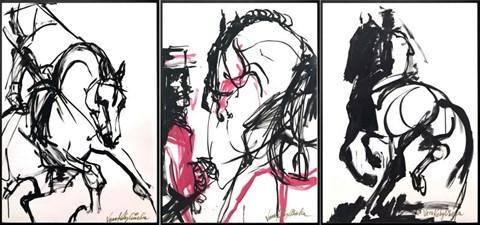 Obraz do salonu artysty Vera Kobylińska pod tytułem Tryptyk - impresje hipiczne
