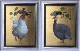 Obraz do salonu artysty Anna  Kozłowska pod tytułem Kogut i Perliczka (dyptyk)