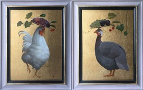 Rooster and Guinea Fowl (diptych)