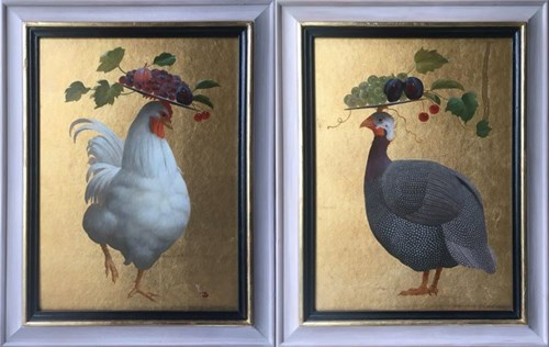 Living room painting by Anna Kozłowska titled Rooster and Guinea Fowl (diptych)