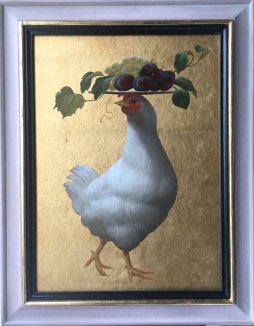 Obraz do salonu artysty Anna Kozłowska pod tytułem Groteska z kurą