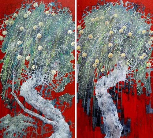 Obraz do salonu artysty Artur Kardamasz pod tytułem Jabłonie w czerwieni (dyptyk)
