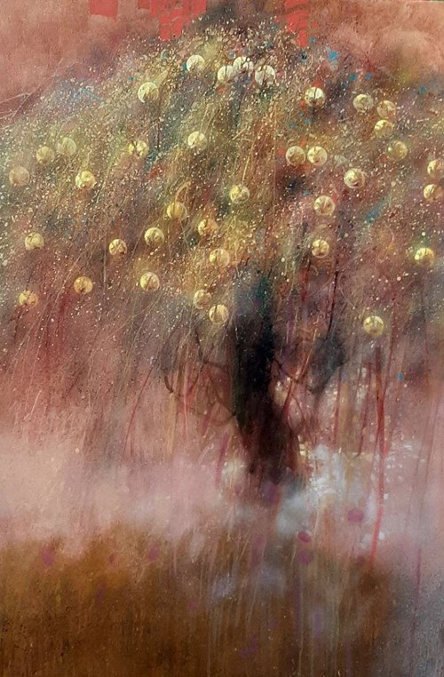 Obraz do salonu artysty Artur Kardamasz pod tytułem Pastelowa jabłoń