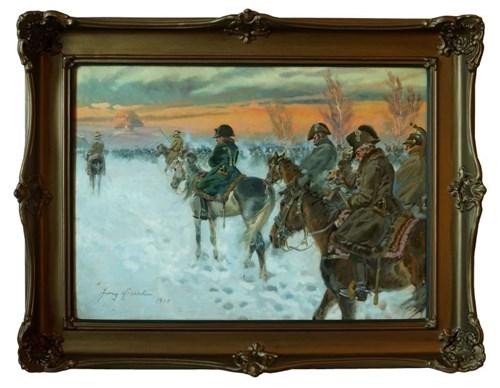 Obraz do salonu artysty Jerzy Kossak pod tytułem Powrót Napoleona z Moskwy