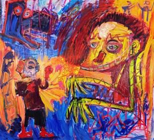 Obraz do salonu artysty Michał Ostrowski pod tytułem Tłum i bokser