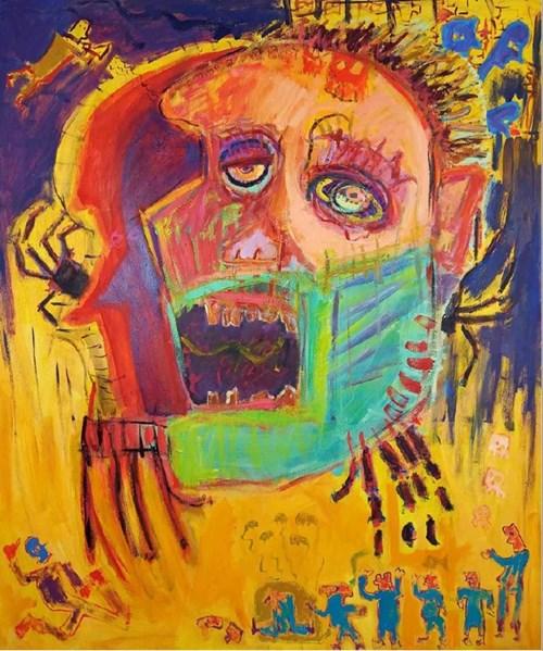 Obraz do salonu artysty Michał Ostrowski pod tytułem Żółta głowa i orkiestra