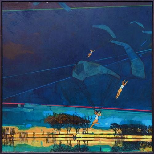 Obraz do salonu artysty Magda Połacik pod tytułem Pejzaż ze spadochroniarkami