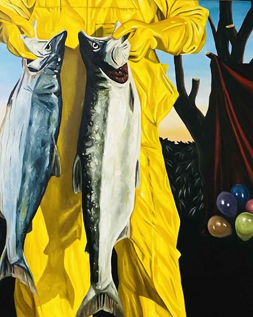 Obraz do salonu artysty Szymon Kurpiewski pod tytułem Widziałem, co wybrałem i zobaczyłem, czego potrzebuję. Chcieć więcej to chciwość.