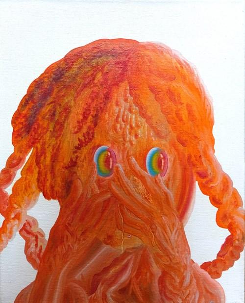 Obraz do salonu artysty Małgorzata Wielek-Mandrela pod tytułem Cały czas farbą w twarz