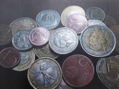 Obraz do salonu artysty Olena Lytvynenko pod tytułem Coins