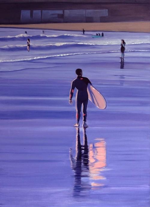 Obraz do salonu artysty Maciej Majewski pod tytułem Le surfeur avec un surfoboard rose