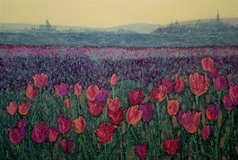 Living room painting by Jacek Malinowski titled Tulips