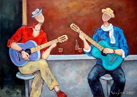 Obraz do salonu artysty Henryk Trojan pod tytułem Blues na dwie gitary