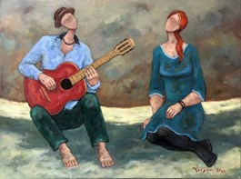 Living room painting by Henryk Trojan titled Love Song