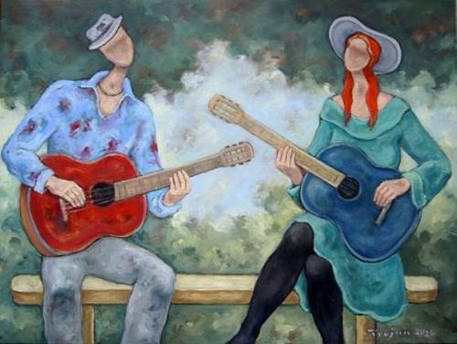 Obraz do salonu artysty Henryk Trojan pod tytułem Flamenco na dwie gitary