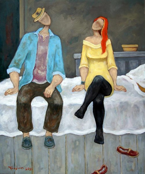 Obraz do salonu artysty Henryk Trojan pod tytułem I co?