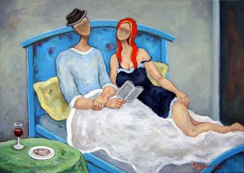 Obraz do salonu artysty Henryk Trojan pod tytułem Wieczorne czytanie