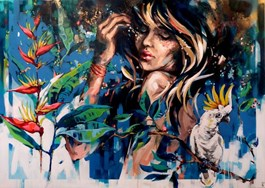 Living room painting by Kamila Jarecka titled Kakadu