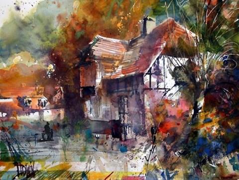 Obraz do salonu artysty Krzysztof Ludwin pod tytułem Łagów, dom w centrum