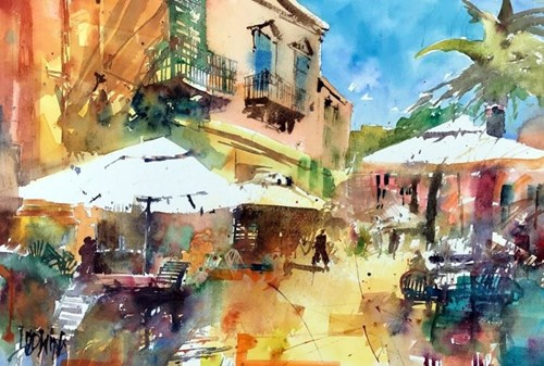 Living room painting by Krzysztof Ludwin titled Sicily - Umbrellas